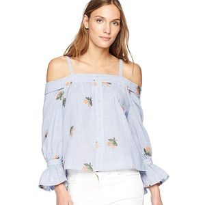 J.O.A. Embroidered Off the Shoulder Striped Top